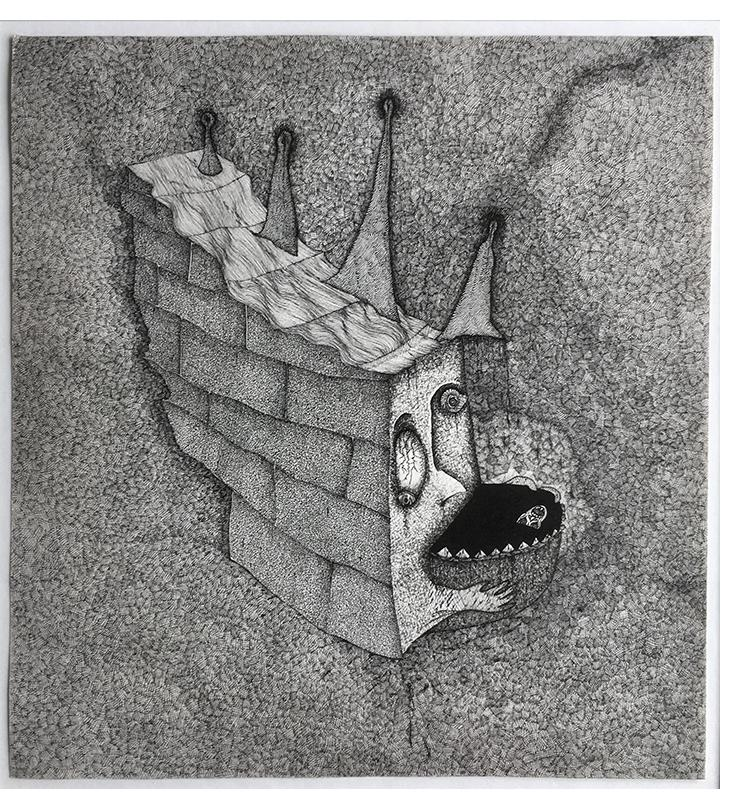 Nick Blinko 'Untitled' 1984 ink 9 x 9.75 ins