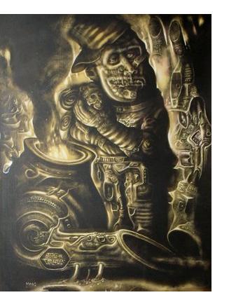 Chris Mars :'Boiler' - scratchboard, 18 x 13 ins - Visionary Art