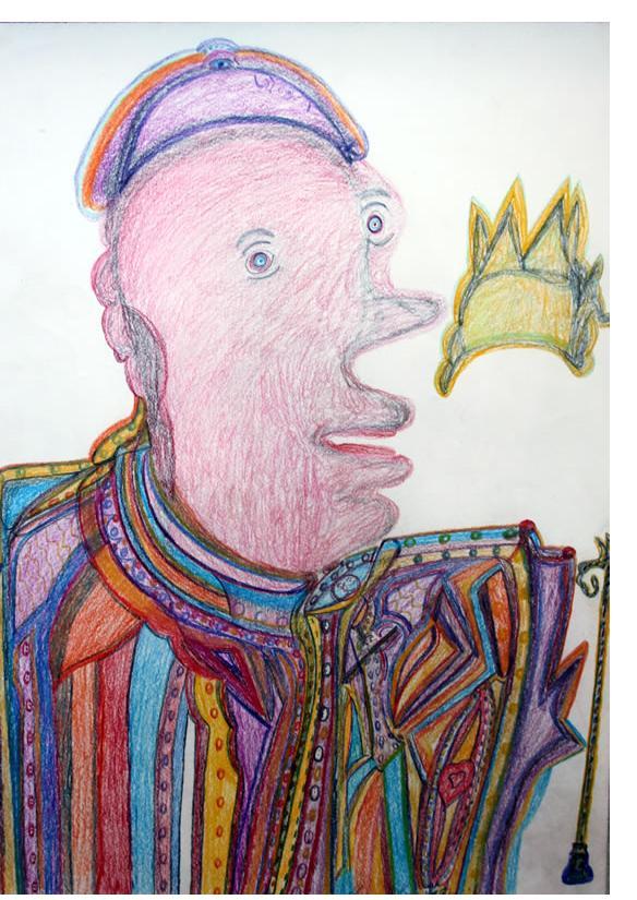 Manuel Bonifacio 'The Pope' c.2013 crayon on paper 20 X 30 ins