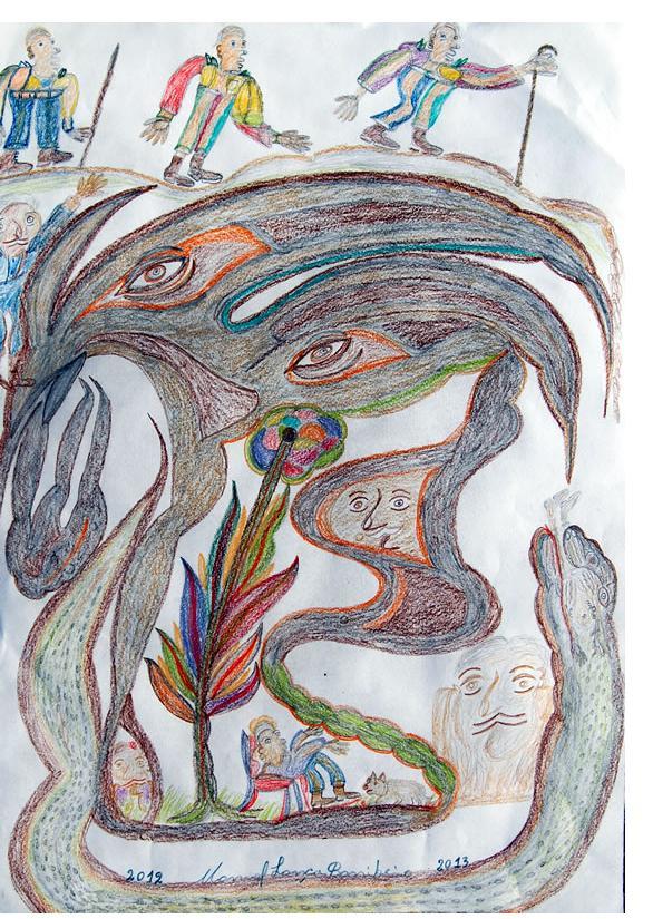 Manuel Bonifacio 'Anaconda, Anaconda, Anaconda.'c.2013 crayon on paper 20 X 30 ins