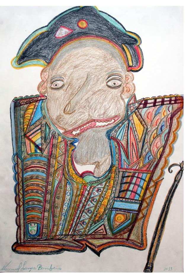 Manuel Bonifacio 'The Old Pope' c.2013 crayon on paper 20 X 30 ins