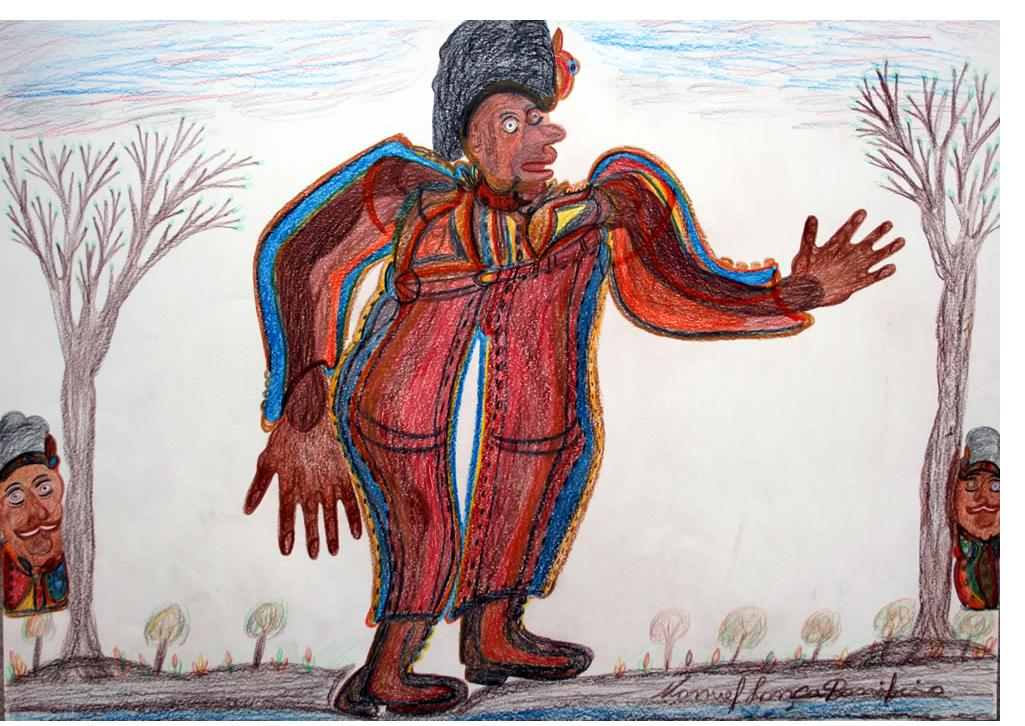 Manuel Bonifacio 'The King' c.2013 crayon on paper 20 X 30 ins