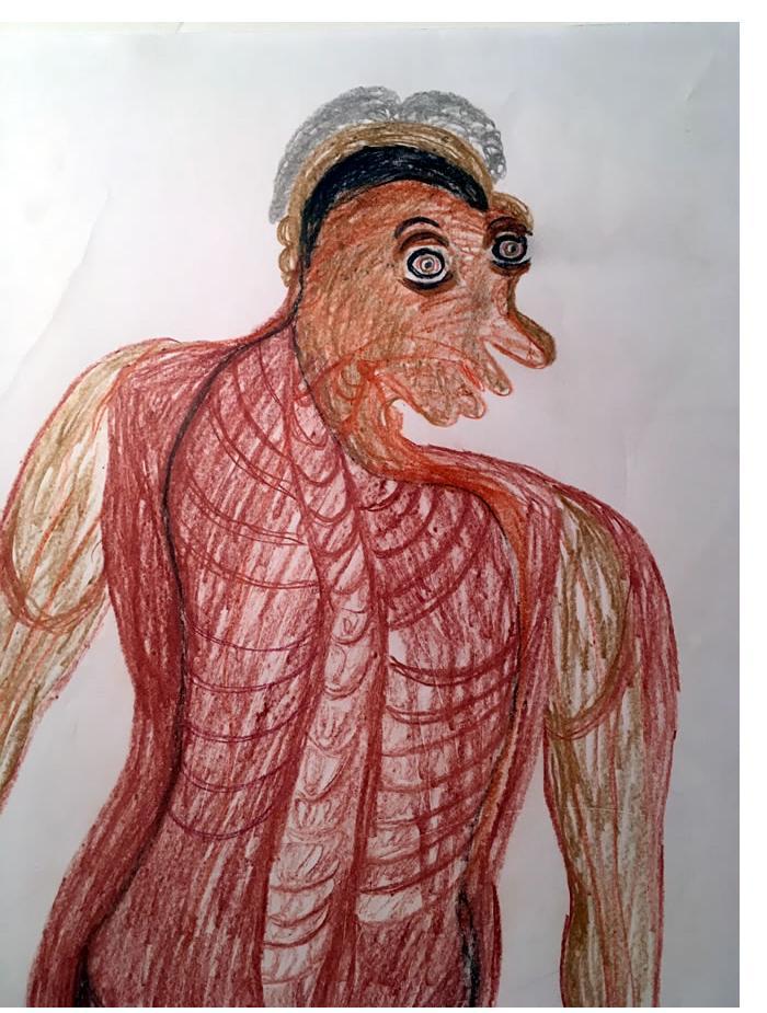 Manuel Bonifacio 'Untitled' 2016. Crayon 24 X 18 ins