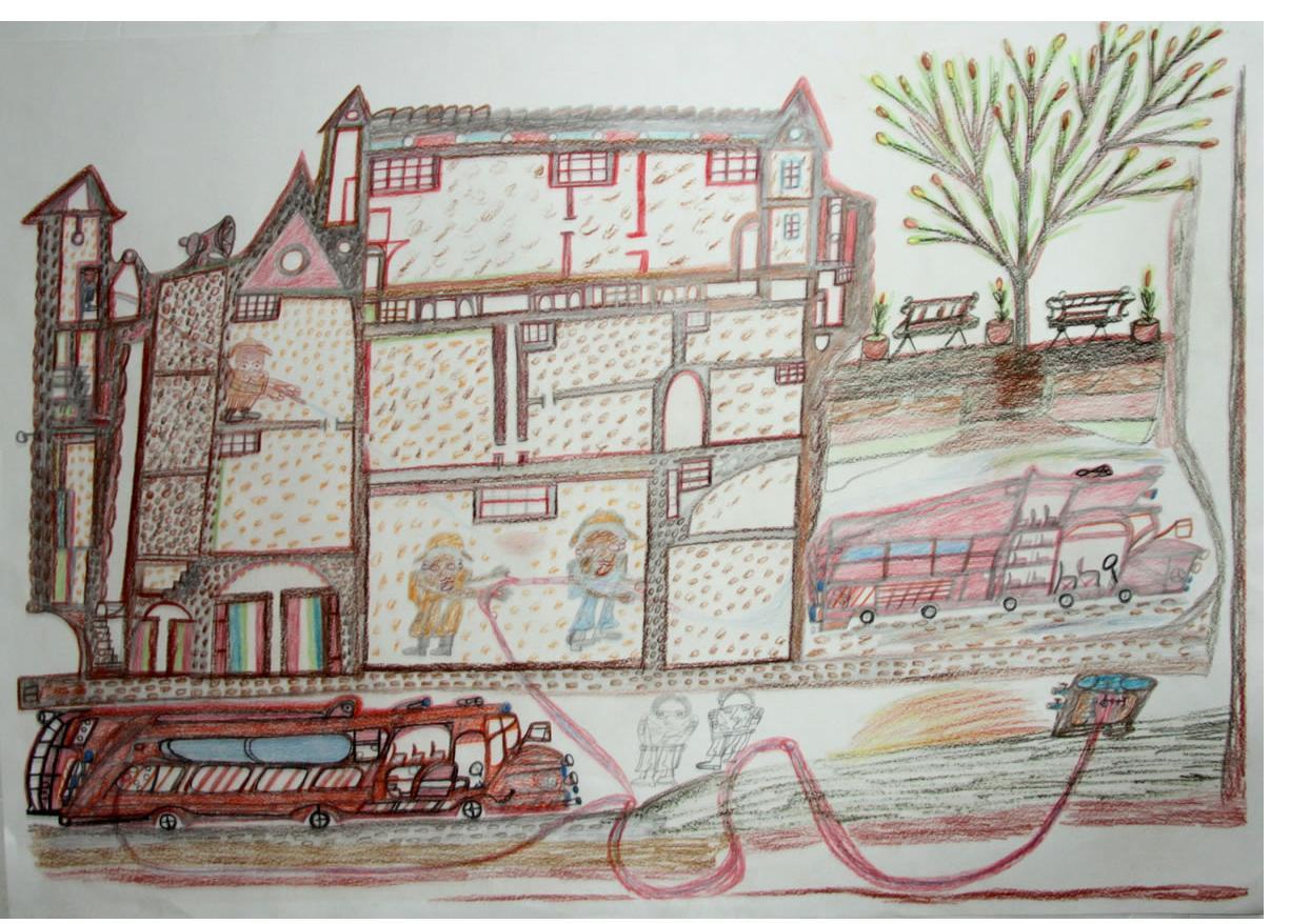 Manuel Bonifacio   'Fire Station'  2014   crayon  28 x 36 ins