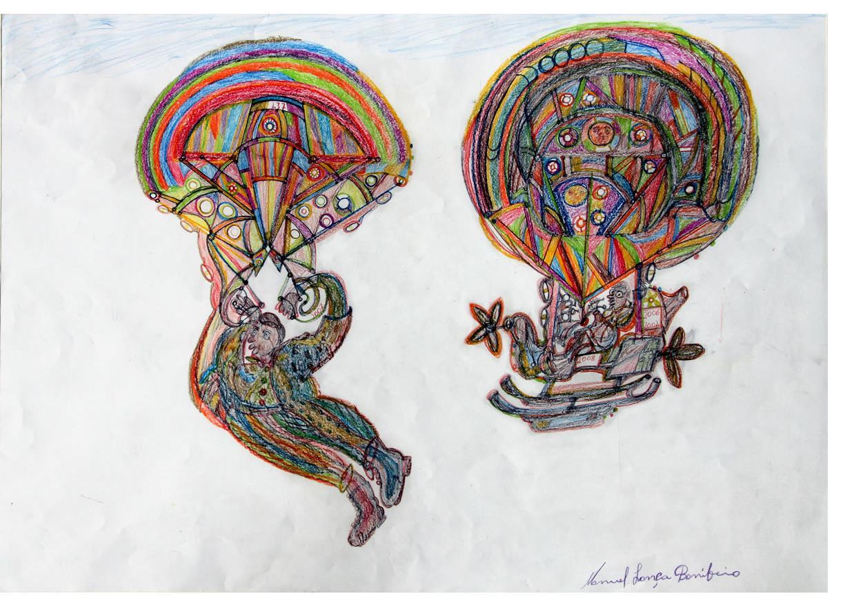 Manuel Bonifacio  'Parachutes' 2012, crayon & pencil on paper,  60 x 85 cm