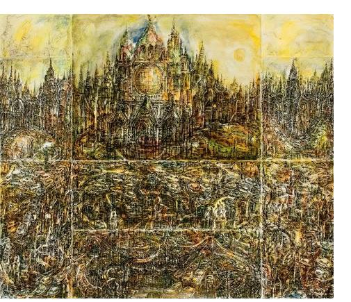Herman Bossert: 'Cathedral' - 2007 Ink & watercolour on paper  114.5 x 47.5 cm