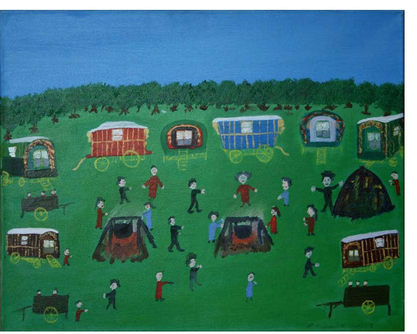 Michael Brien :'Gypsy Camp' - 2007, oil on canvas - self-taught