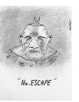 Charles Bronson : 'No Escape' - c.2000, pen and pencil, 5 x 3 ins