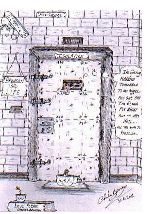 Charles Bronson : 'Isolation' - c.2000, pen and pencil, 5 x 3 ins