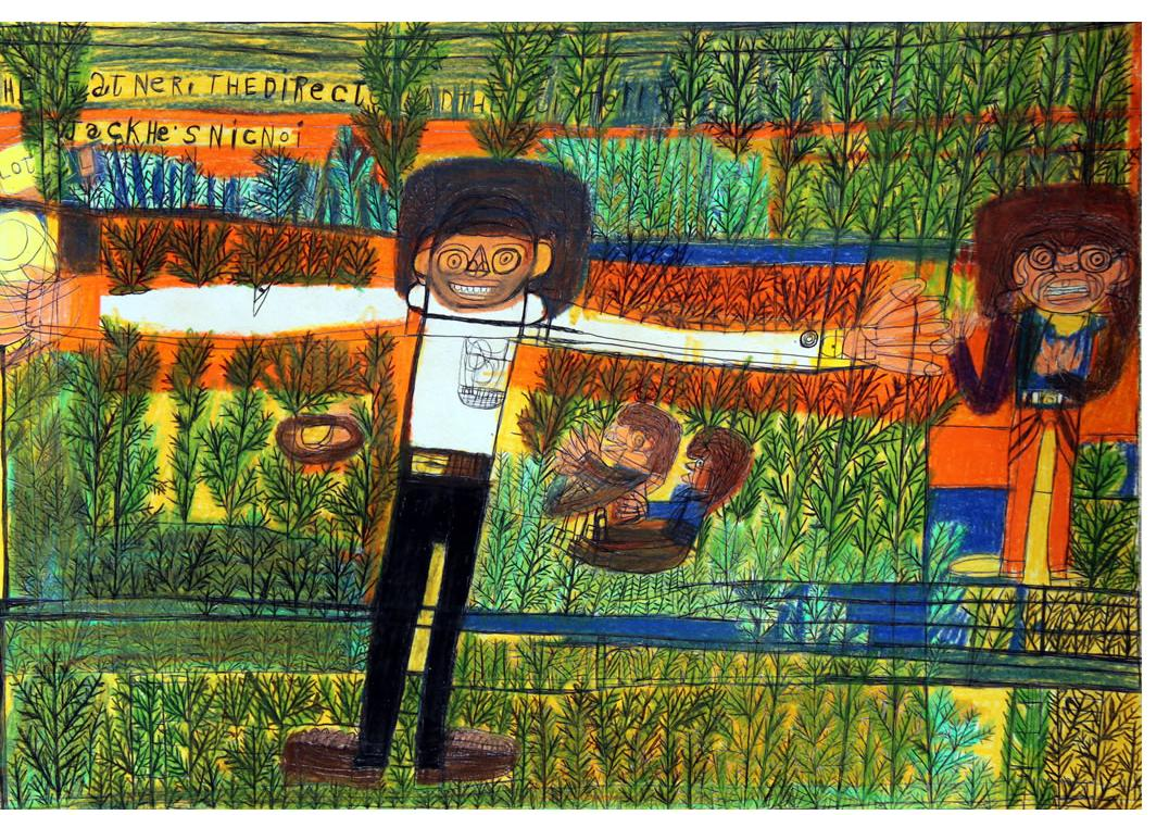 Kenneth Brown :'Untitled'  wax crayon, ink & pencil - Outsider Art