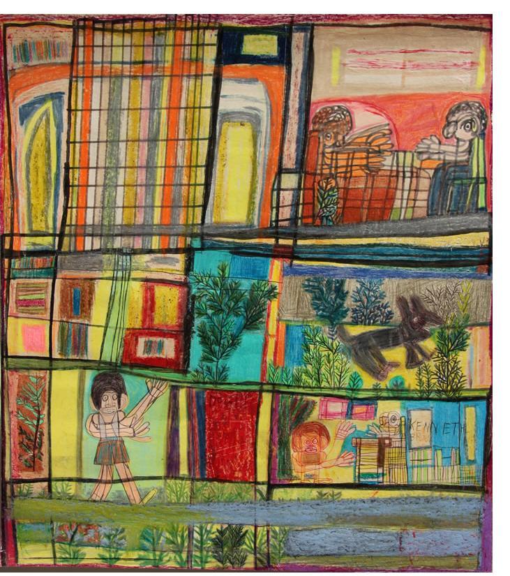 Kenneth Brown :'Untitled'  wax crayon, ink & pencil