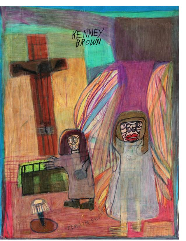 Kenneth Brown :'Crucifixion' c.1998 wax crayon, ink & pencil,  23 x 17 ins - Outsider Art