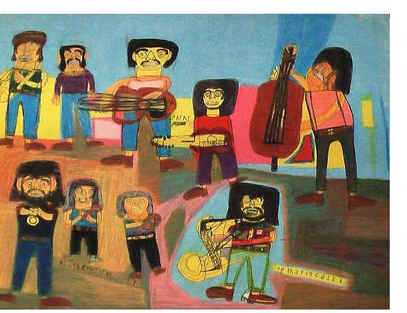 Kenneth Brown :'Jackson Five'  wax crayon, ink & pencil