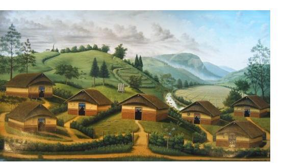 Wonshondro Buam :'Huts' - 2005, oil on canvas, 40 x 65 ins