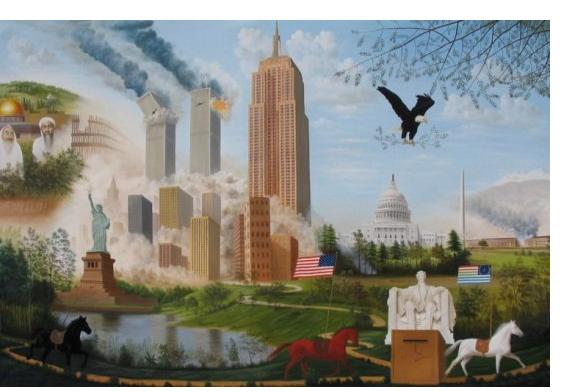 Wonshondro Buam :'Lest we forget 911' - 2004, oil on canvas, 60 x 75 ins