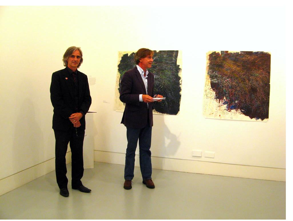 Stefab Van Raay, Director of Pallant House, and curator Marc Steene open the 'Outside In: London' exhibition at The Gallery, Southwark Park, 15th August 2012