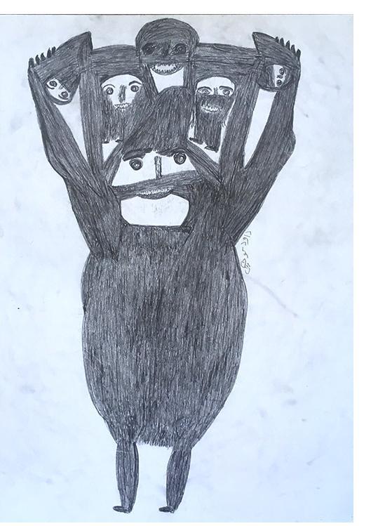 Davood Koochaki: 'Untitled' c.2010. Charcoal 75 x 50 cm