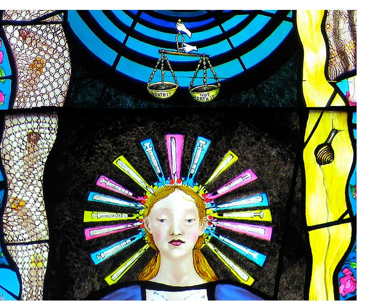 Pinkie Maclure:'Beauty Tricks' (detail), Stained Glass