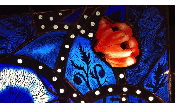 Pinkie Maclure:'Pills for Ills, Ills, for Pills' (detail), Stained Glass