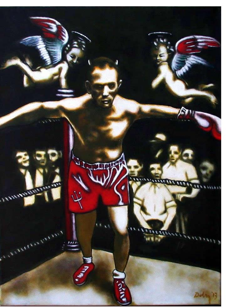 Gary Dobry:'The Angels Wanna Wear My Red Shoes', 30 X 40 ins, acrylic on canvas, 2014