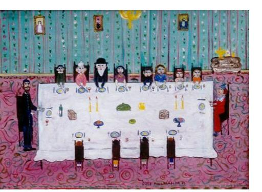 Dora Holzhandler :'Passover meal' - c.2000, oil on boad, 10 x 16 ins