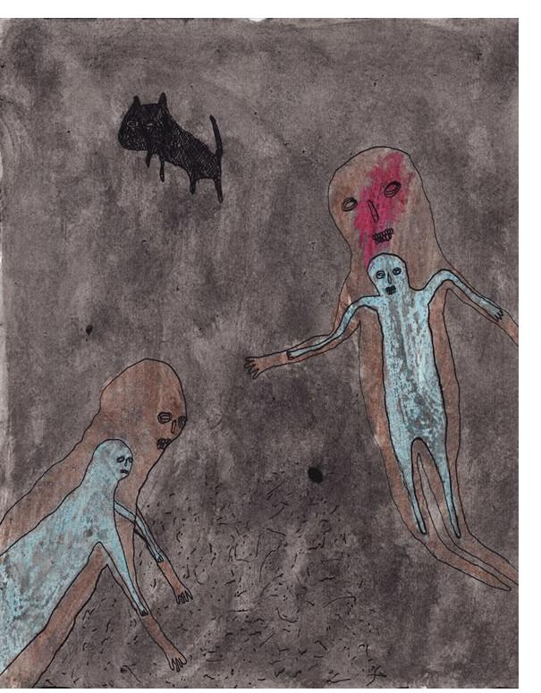Alan Doyle 'Untitled' 2012, 10.4 x 8.3 ink and wax crayon on paper