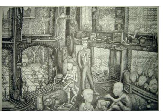 Eric Jiani :'Untitled' - ink, 20 x 28 inches