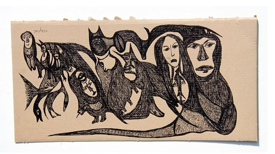 Kianoosh Ghadi: 'Untitled' 2013  ink on card  7.5 x 14.5 ins - Outsider Art