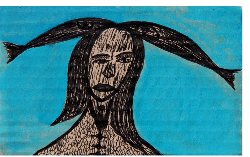Kianoosh Ghadi: 'Untitled' c.2012  ink on card  3.5 x 5.5 ins - Outsider Art