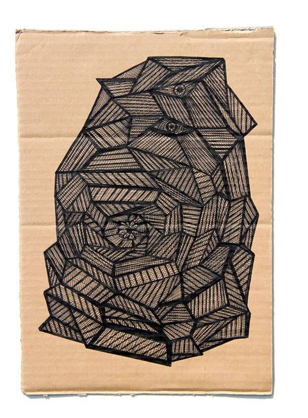 Kianoosh Ghadi: 'Untitled' c.2013 ink on card  12.5 x 8.25 ins - Outsider Art
