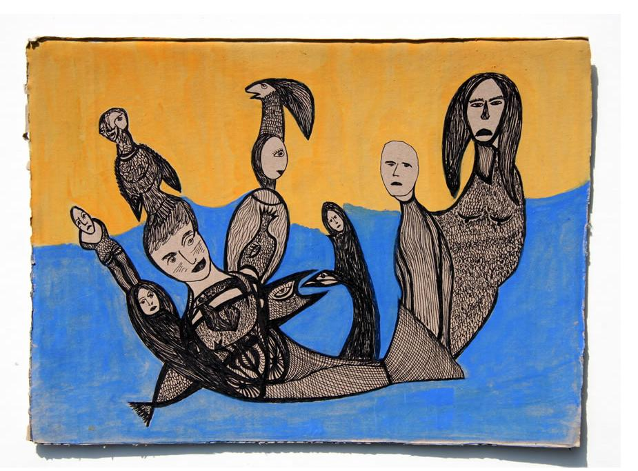 Kianoosh Ghadi: 'Untitled'  c.2013   ink & poster paint on card  10 x 14 ins