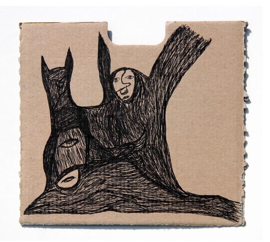 Kianoosh Ghadi: 'Untitled' 2013  ink on card  7 x 7.75 ins - Outsider Art