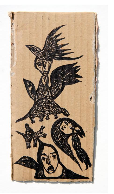 Kianoosh Ghadi: 'Untitled' 2013  ink on card  6.75 x 3.25 ins