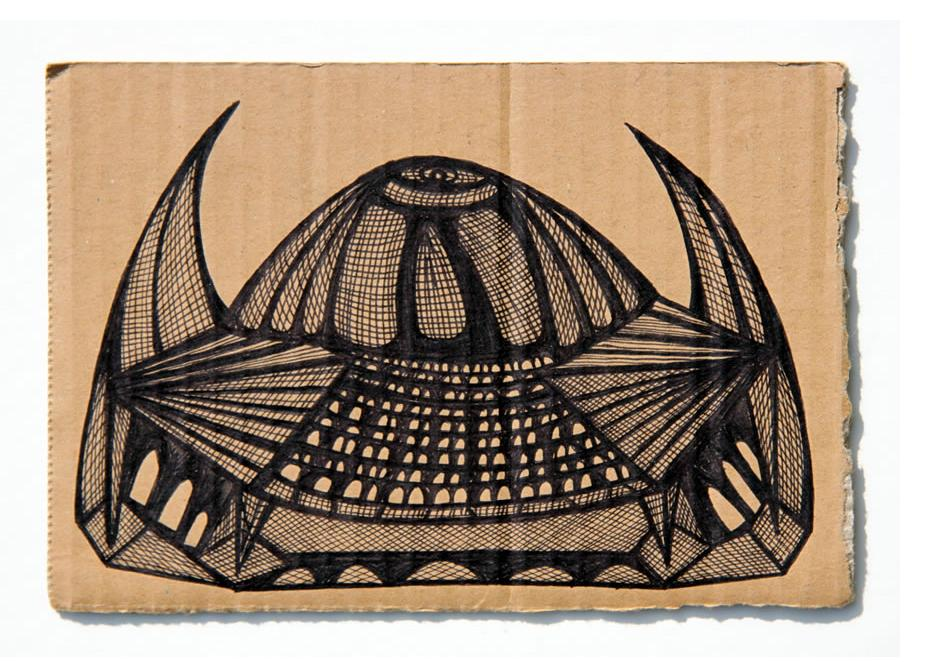 Kianoosh Ghadi: 'Untitled' c.2013  ink on card  5 x 7 ins - Outsider Art