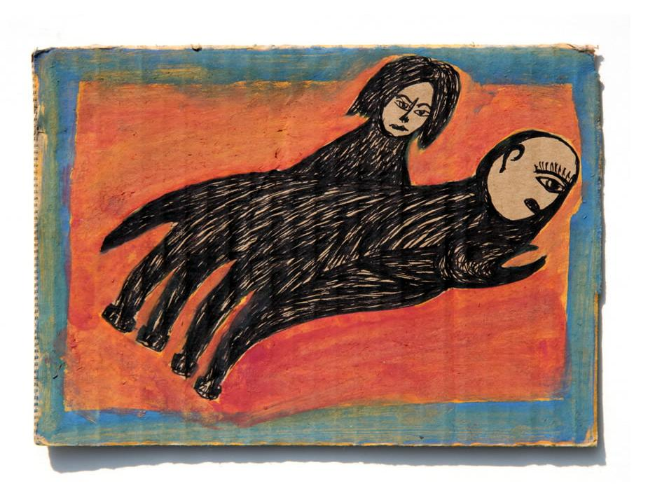 Kianoosh Ghadi: 'Untitled' 2012   ink on card  4.75 x 6.75 ins - Outsider Art