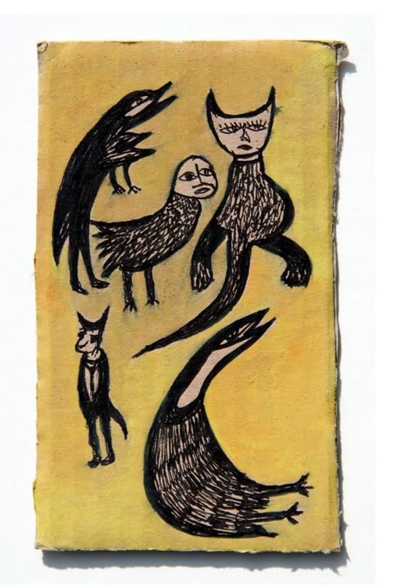 Kianoosh Ghadi: 'Untitled' 2013   ink on card  5.75 x 3.25 ins - Outsider Art