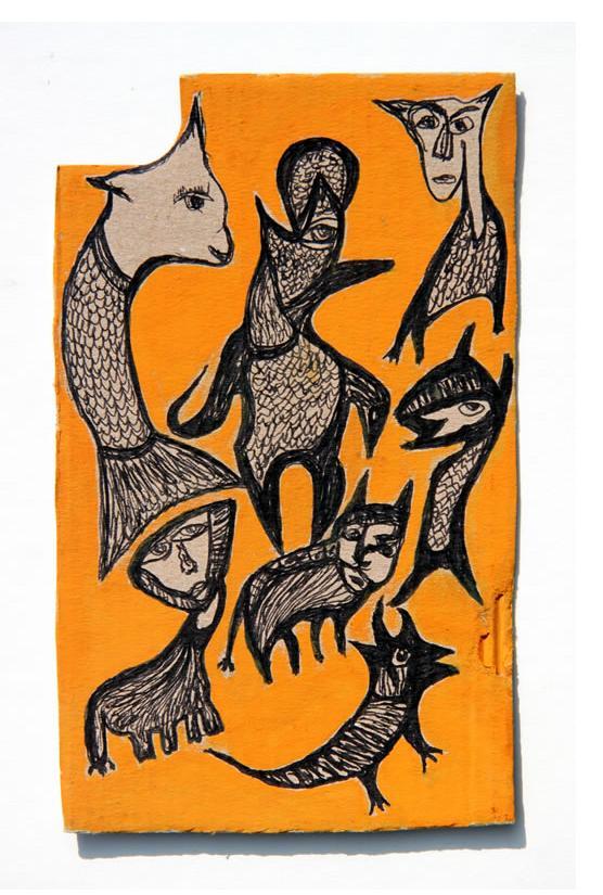 Kianoosh Ghadi: 'Untitled' c.2012  ink on card  6.5 x 4 ins - Outsider Art