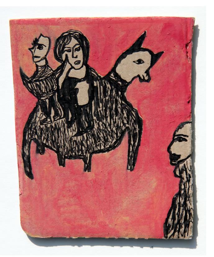 Kianoosh Ghadi: 'Untitled' c.2013  ink on card  5.25 x 4.25 ins - Outsider Art