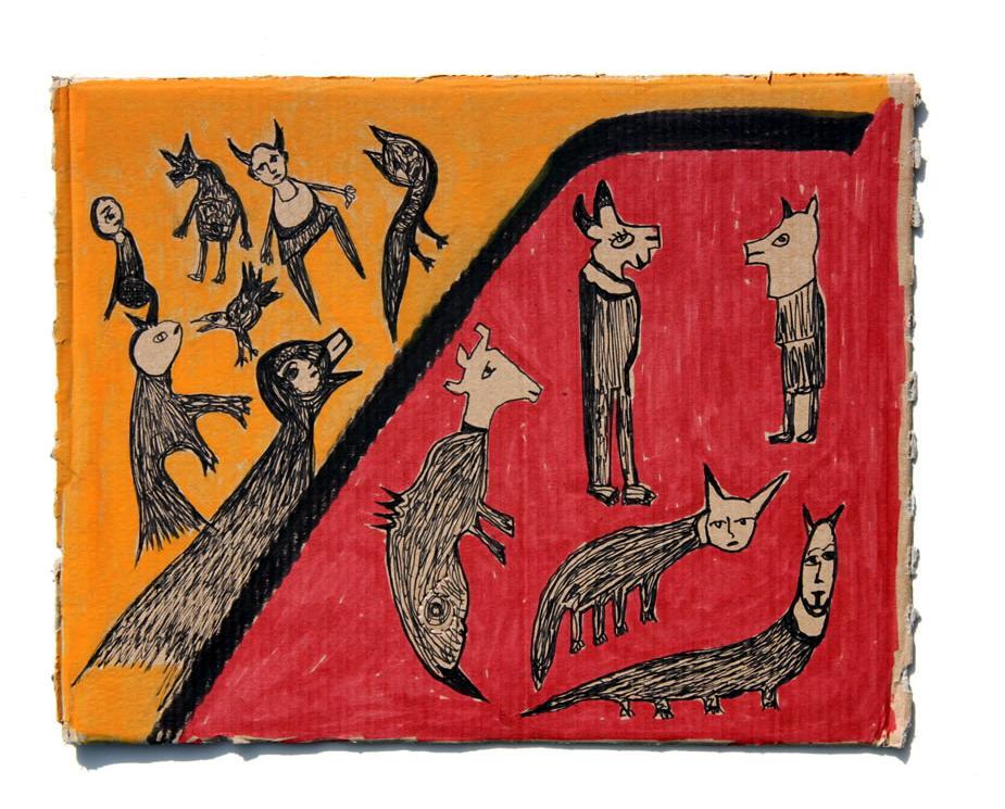 Kianoosh Ghadi: 'Untitled' c.2013  ink on card  9.5 x 12 ins - Outsider Art