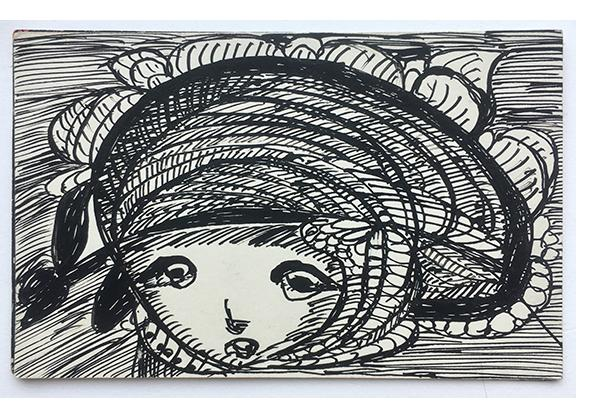 Madge Gill - 'Untitled' c.1945  ink on postcard - outsider art
