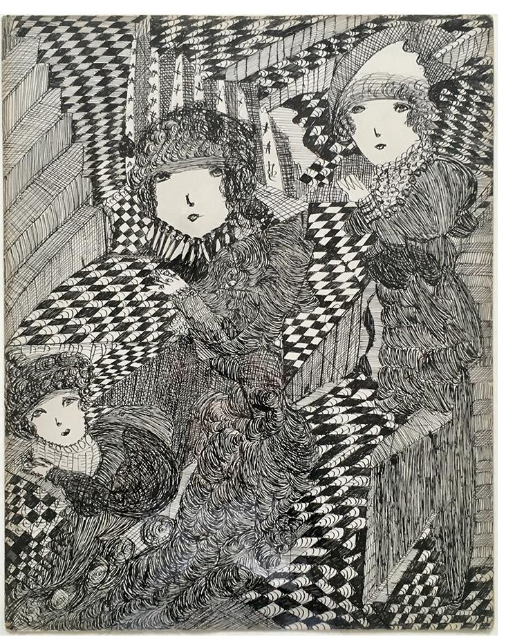 Madge Gill c.1940 ink on card 24 x 20 in - outsider art