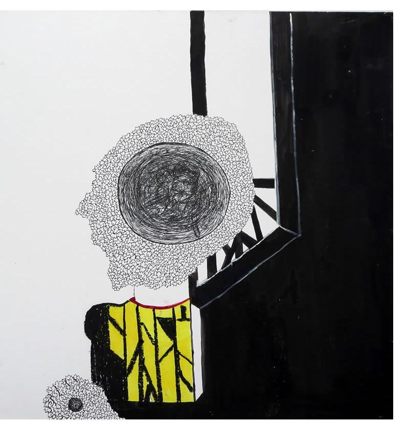 Adam Grippo :'Untitled' 2013, ink, gouche & oil, 20 x 20 in