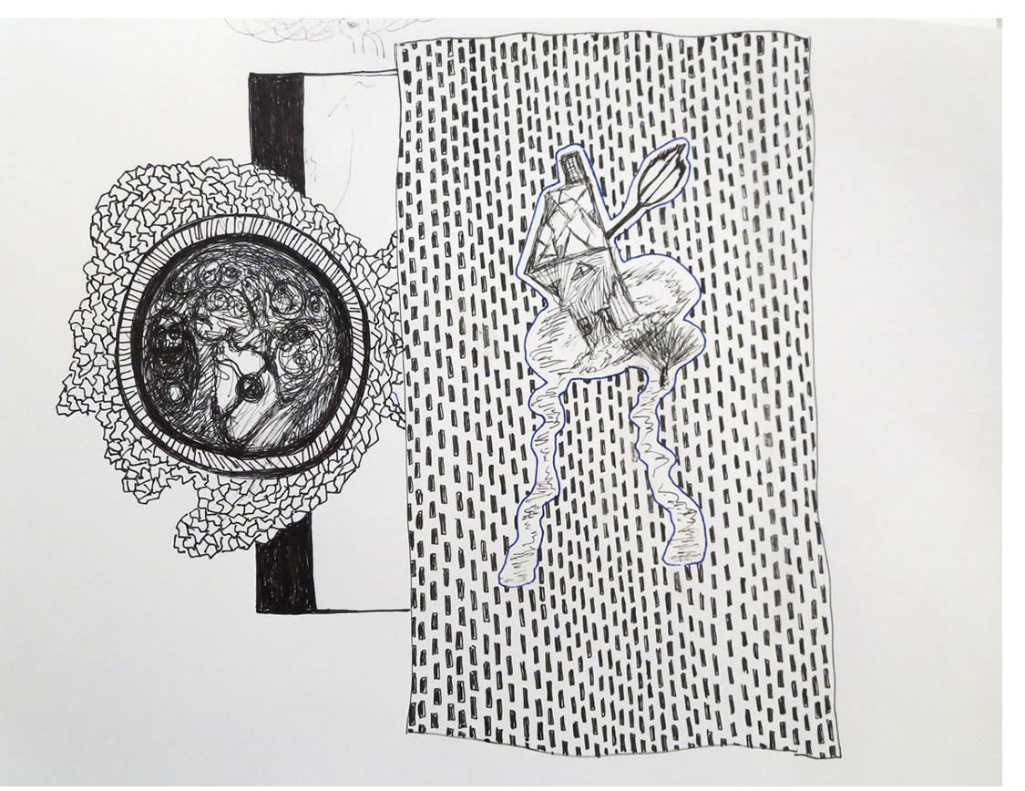 Adam Grippo :'Untitled' 2013, ink, 9 x 11 in
