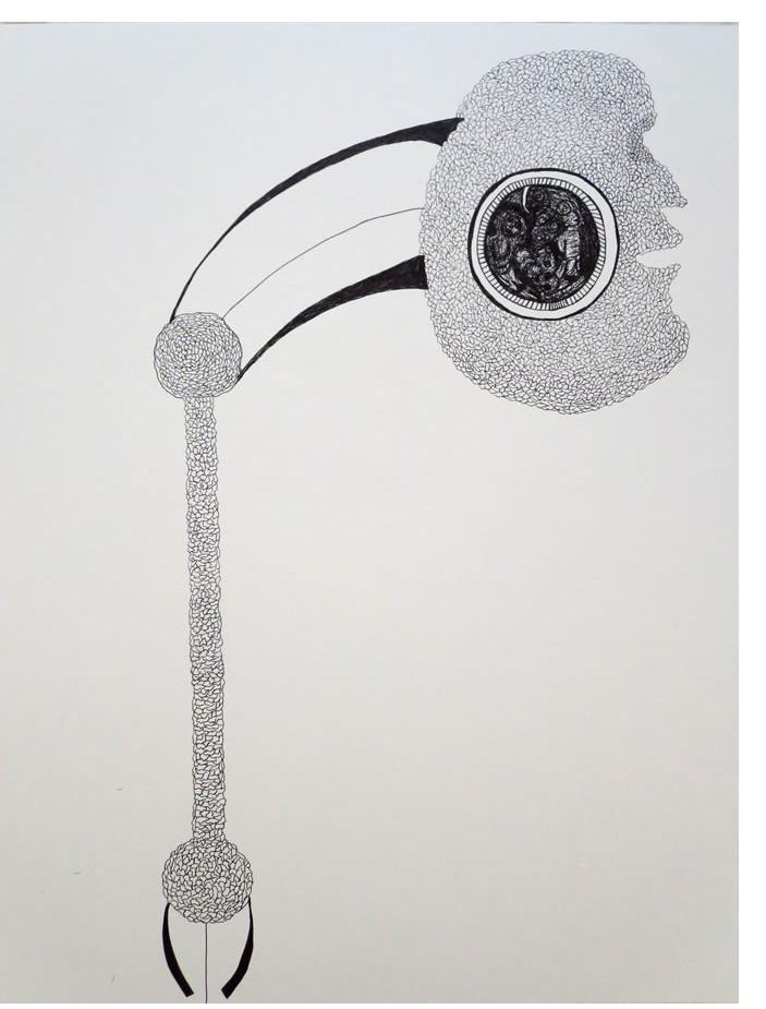 Adam Grippo :'Untitled' 2013, ink, 23 x 20 in