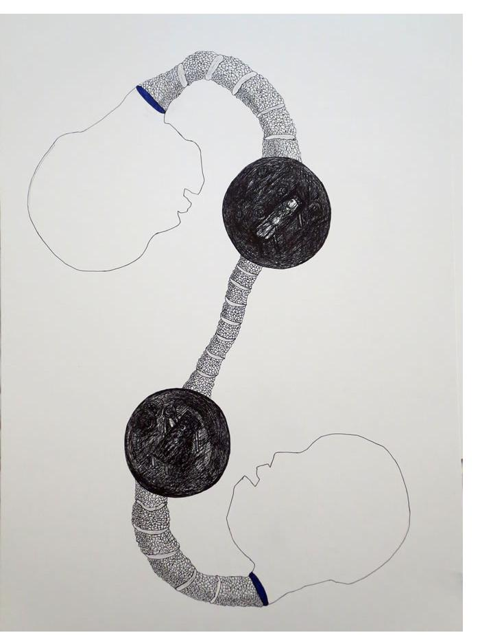 Adam Grippo :'Untitled' 2013, ink, 24 x 14 in
