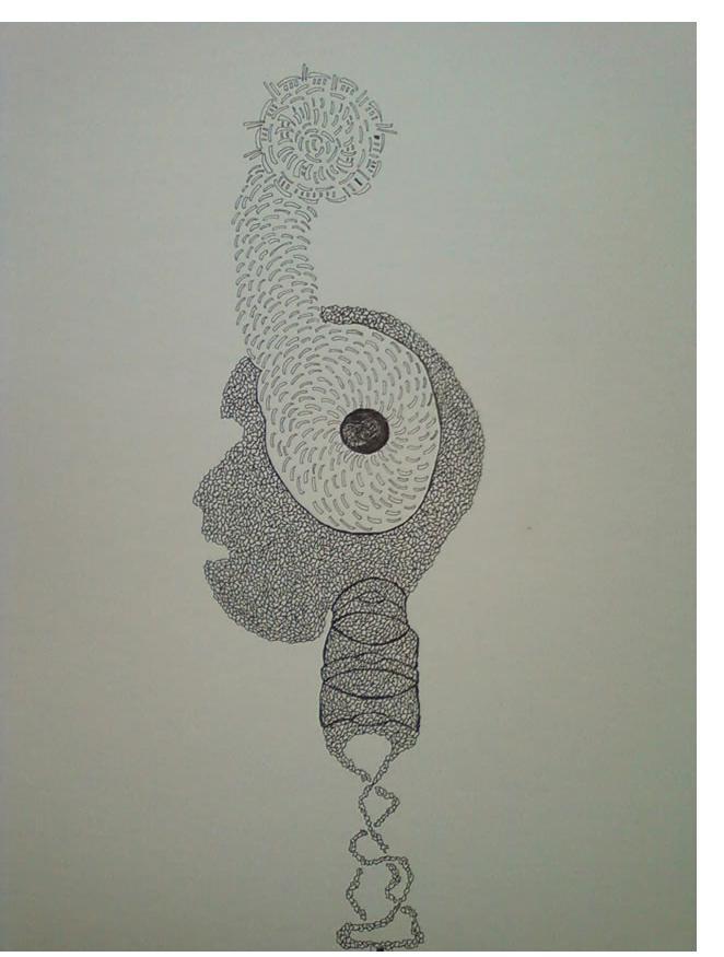 Adam Grippo :'Untitled' 2014, ink, 30 x 20 in