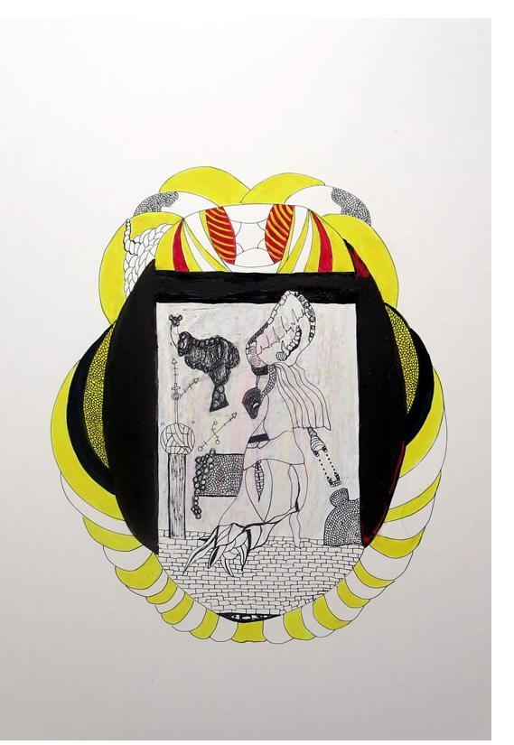Adam Grippo :'Untitled' 2013, ink, gouche & oil, 25 x 20 in
