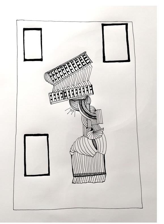 Adam Grippo :'Untitled' 2016, ink , 30 x 40 in