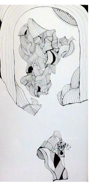 Adam Grippo :'Untitled' 2013, ink, 28 x 13 in