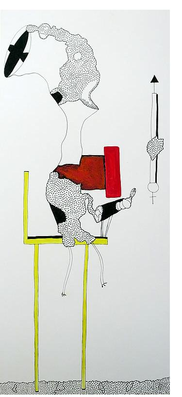 Adam Grippo :'Untitled' 2013, ink, gouche &  oil, 30 x 14 in